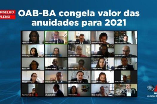 [OAB-BA congela valor das anuidades para 2021]